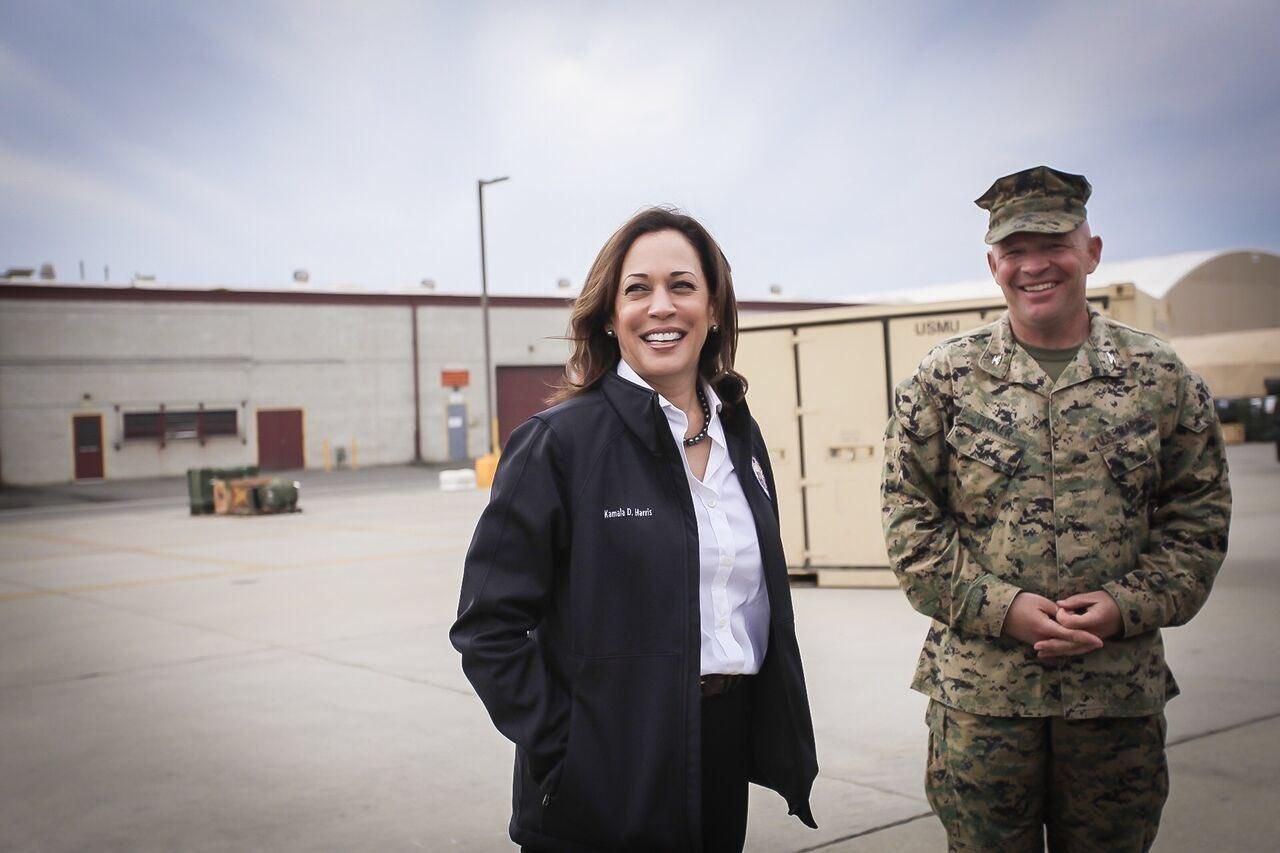 California senator Kamala Harris with military personnel at Camp Pendleton in 2018