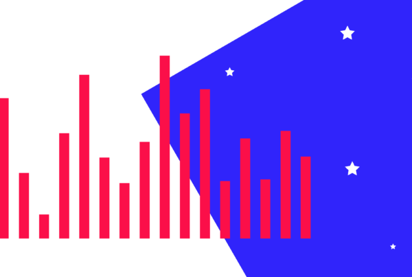 A stylised bar chart formed of the colours of the US flag